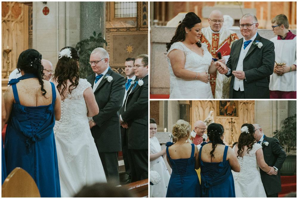 St. Pauls belfast wedding photographer pure photo n.i exchanging rings