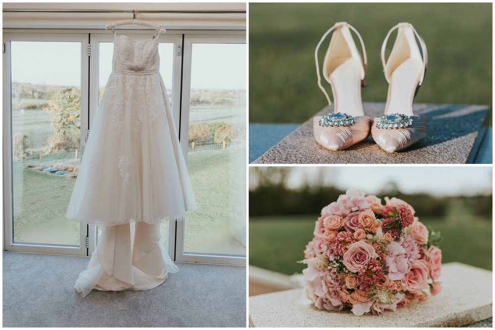 tullyglass house hotel wedding dress shoes flowers