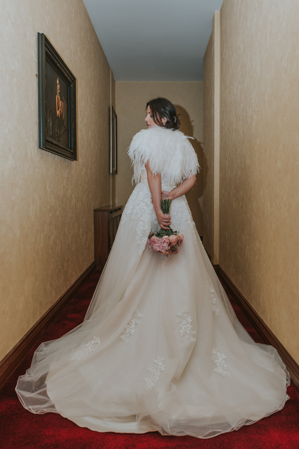 Tullyglass House Hotel wedding bride and flowers