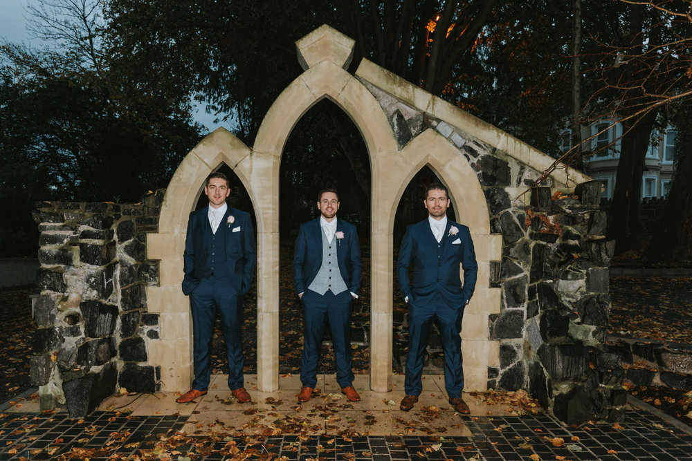 Tullyglass House Hotel wedding groom and brothers