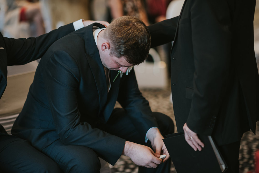 ten square hotel wedding ceremony belfast groom crying best man