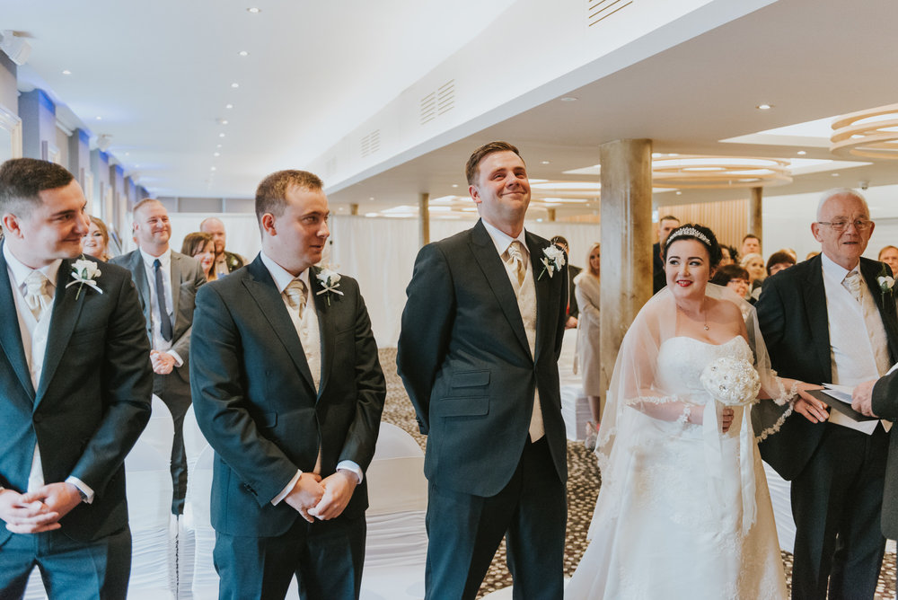 ten square hotel wedding ceremony belfast groom bride