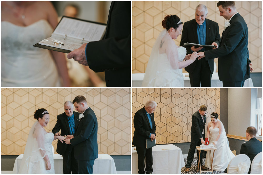 ten square hotel wedding ceremony belfast groom bride exchanging rings