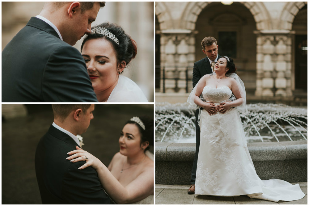 ten square hotel wedding ceremony belfast city hall groom bride portraits