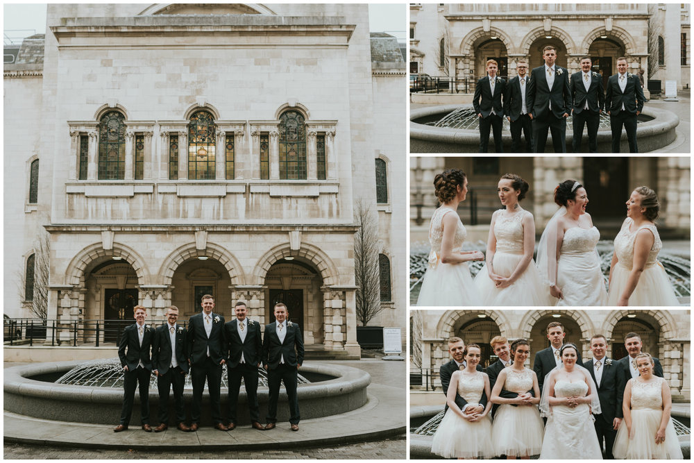 ten square hotel wedding ceremony belfast city hall group photo