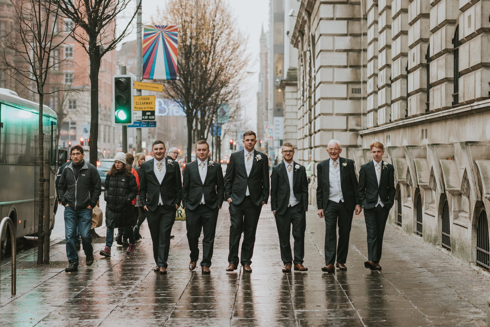ten square hotel wedding belfast groomsmen and groom