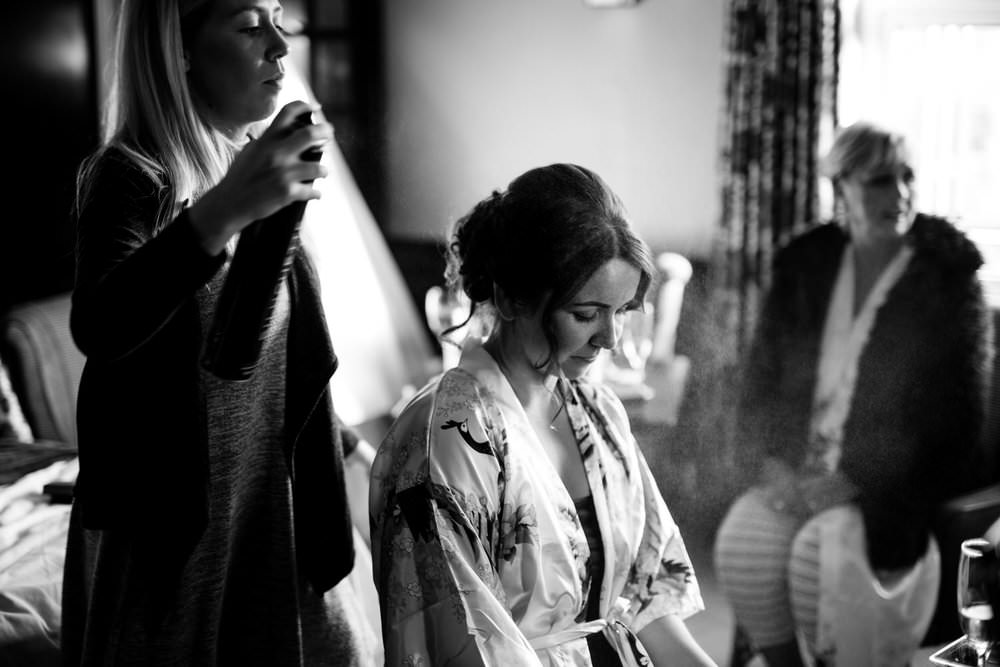 The bride getting ready.