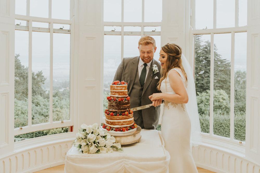 Mock cutting of the wedding cake.