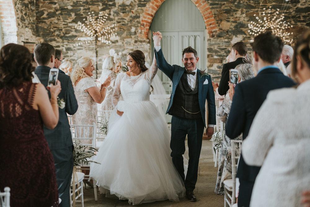 Orange Tree House wedding ceremony bride and groom