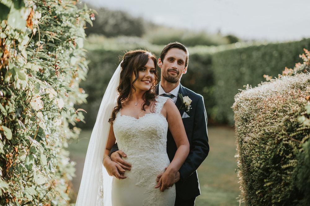 La Mon Hotel wedding bride and groom portrait
