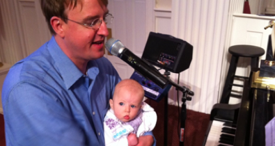Ivi Grace helping daddy rehearse the band.