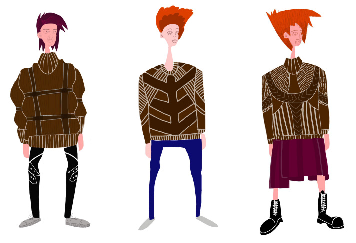 Tengri 'Warrior' knitwear sketches. www.tengri.co.uk