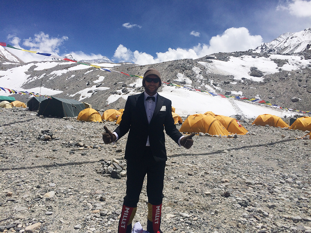 Deri attempted to set the world-record for the highest-altitude black-tie dinner party, raising funds to support Community Action Nepal. He is WEARING THE BASIC BEANIE FROM THE TENGRI WARRIOR COLLECTION. © TENGRI LTD. PHOTO CREDIT: DERI Llewellyn-Davies.