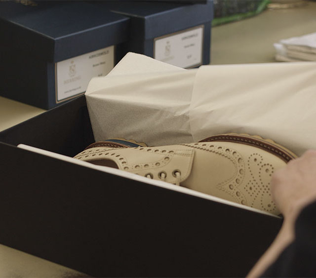 3 - Print your payment confirmation and pack your shoes securely for despatch. Please do not send shoe trees or shoe bags. We strongly recommend that you use a despatch service which requires a signature to confirm delivery, and we are not responsible for any shoes lost in transit.Send your shoes to:Tengri Khangai Broguesc/o Cheaney Shoes LtdRefurbishment Department69 Rushton RoadDesboroughNorthantsNN14 2RRWe will send you an email confirming that we have received your shoes and that the refurbishment process has begun.