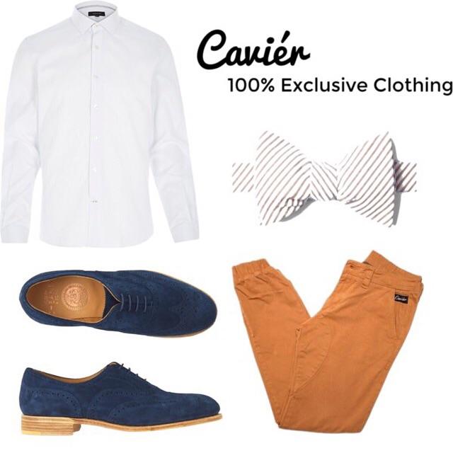 Joggers: $120, cavierclothing.com  Shirt: $35; riverisland.com  Bow tie: ties.com  Shoes: $365; toa.st