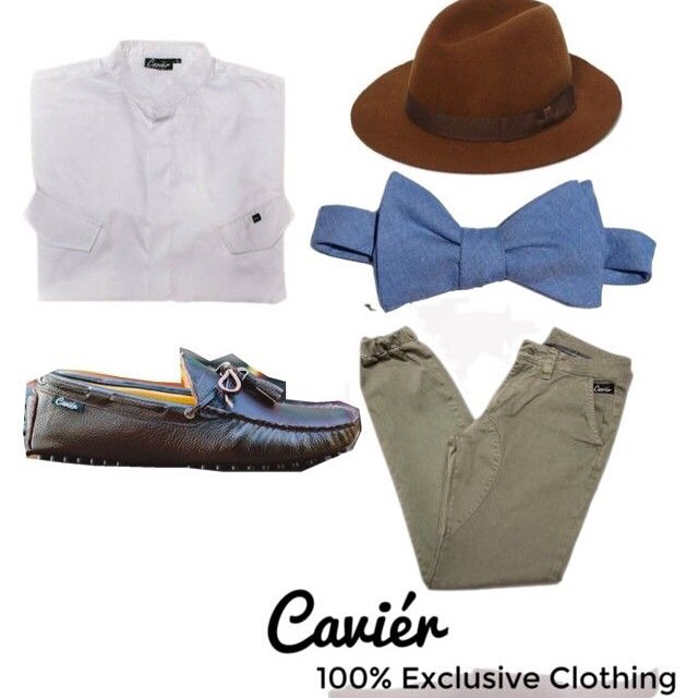 I love this look. The blue jean bow tie paired with our green joggers and a brown hat pulls this look together. A classic look!