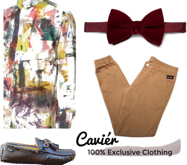 A artistic guy will pull this look together. A paint splattered button up paired with a velvet bow tie, our signatures tan joggers, and our new loafers! This look speaks for itself!