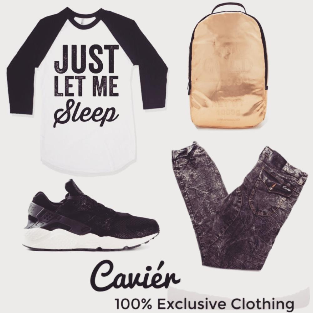 Shirt: ETSY.COM; $32   Shoes: FARFETCH.COM; $142  Backpack: FOREVER21.COM; $78  Joggers: CAVIERCLOTHING.COM; $180