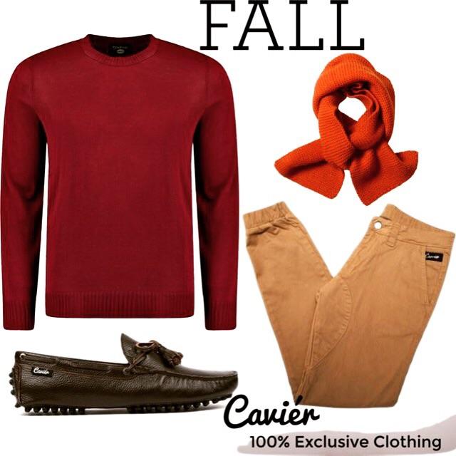 Sweater: boohoo.com  Joggers: $120; cavierclothing.com  Scarf: $250; margerthowel.com  Loafers: $180; cavierclothing.com