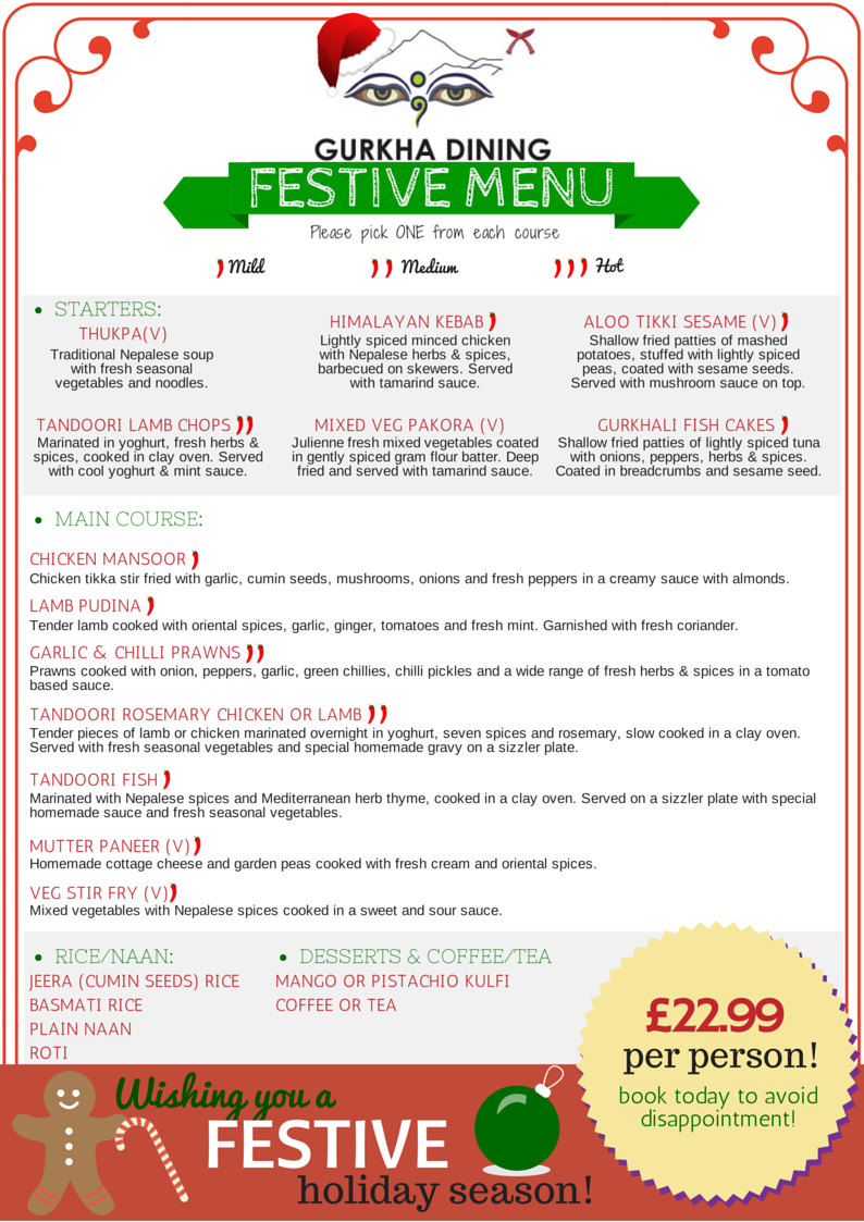 gurkha dining christmas menu 2014