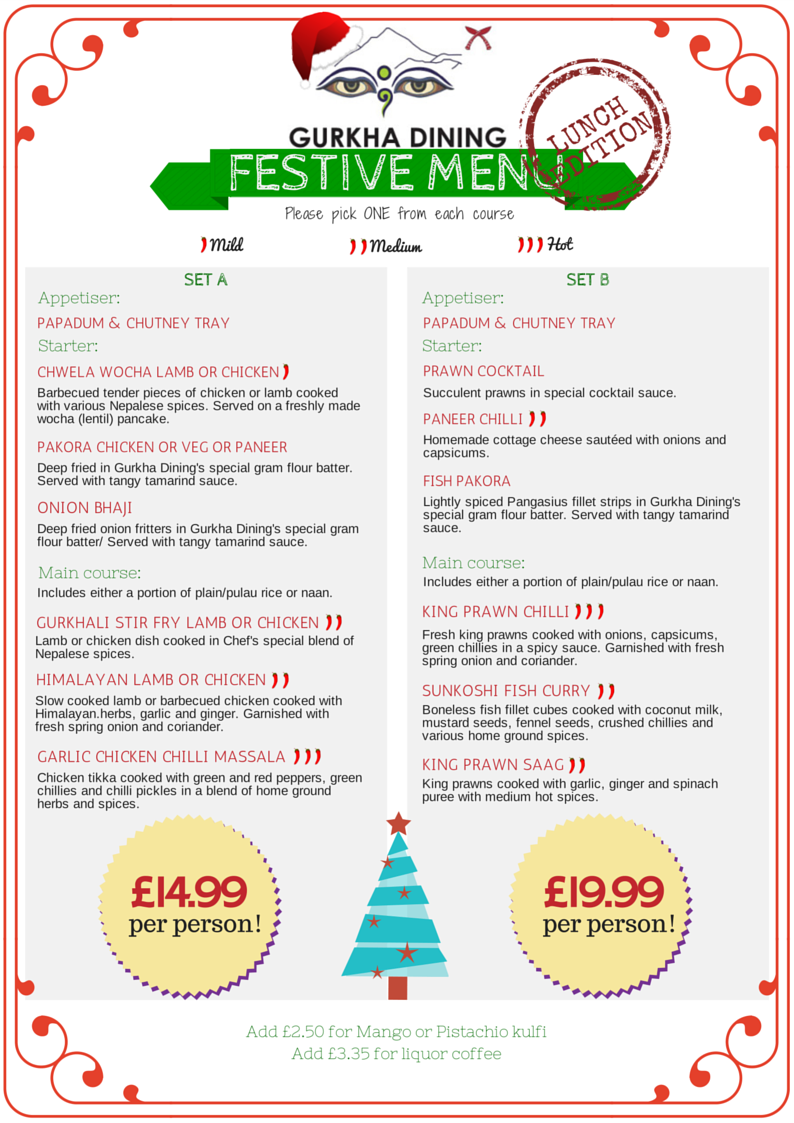 gurkha dining christmas lunch menu