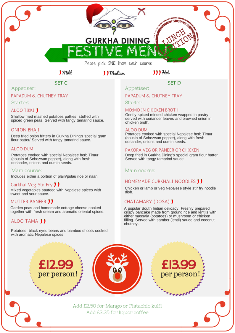gurkha dining festive menu lunch 2014