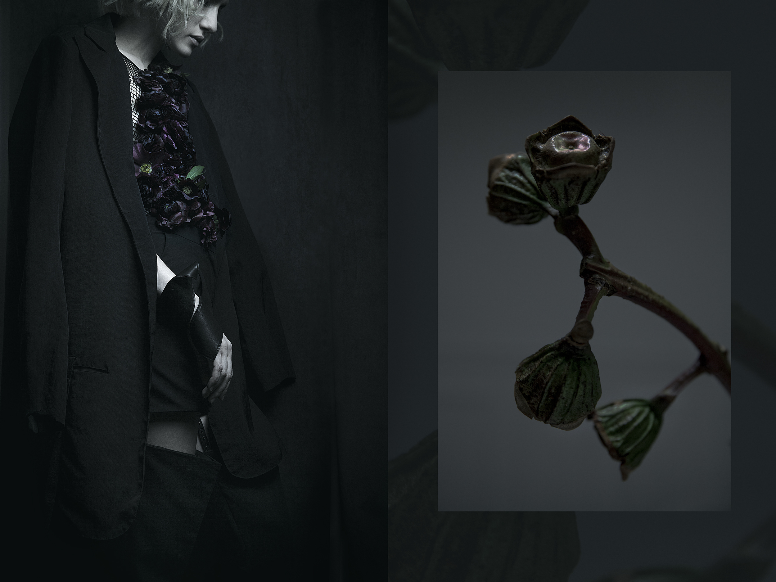 men jacket Sandrine Philippe, detachable trousers Y/Project, leather accessory T.A.S