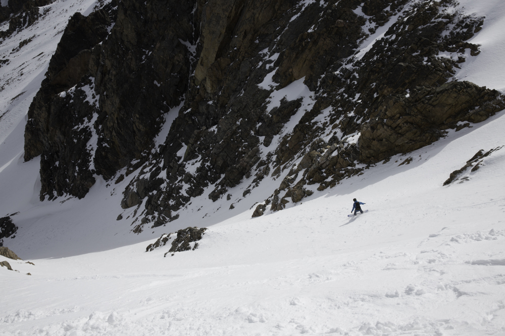 Matt Paris getting some early morning turns in Moon Couloir.