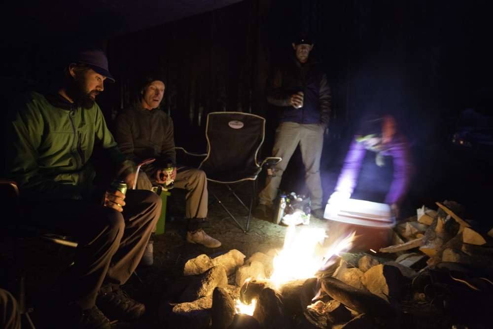 Campfire tales and tasty beverages at the end of another long day.