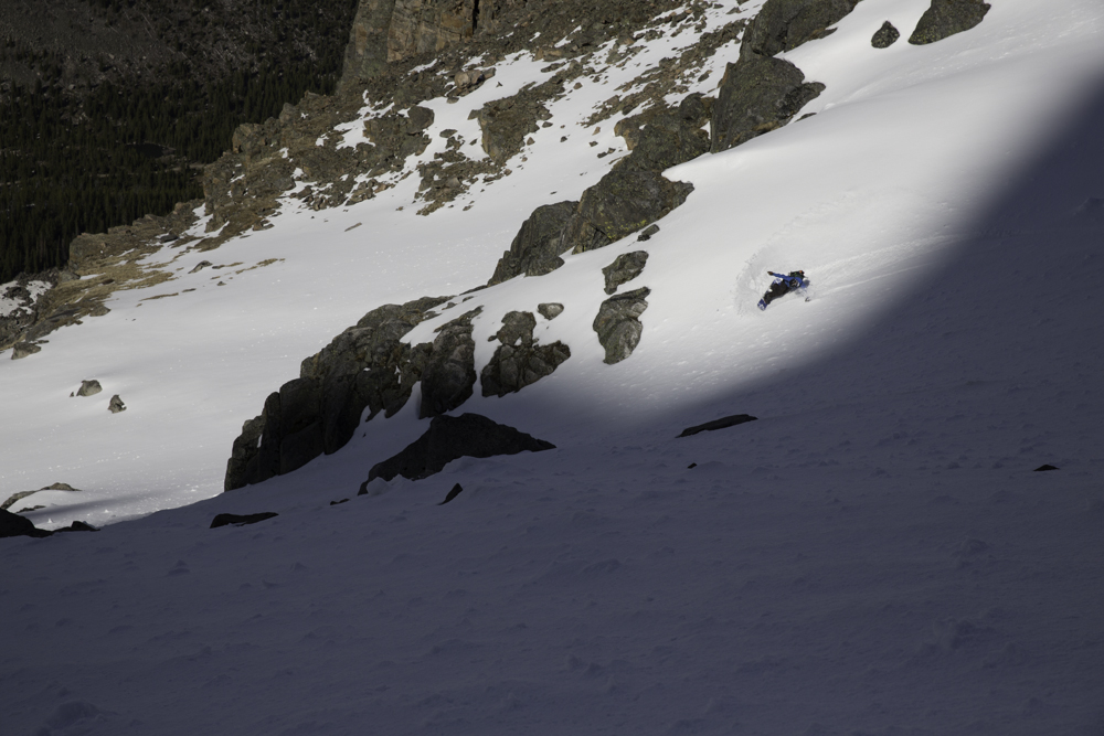 Chance Lenay surfing a nice left break in June Couloir.