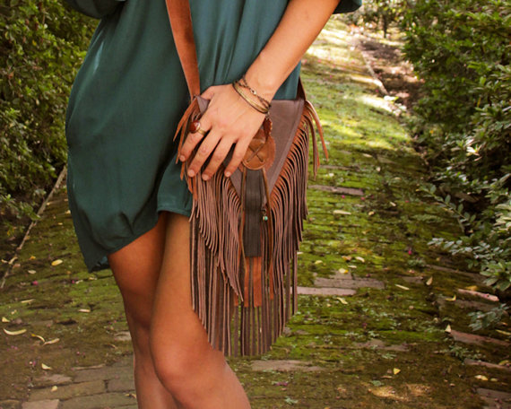 Brown leather boho fringe bag - £125 Etsy