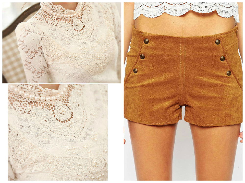 Left: Beaded Crochet Panel Blouse - £12 YesStyle Right: Pull&Bear Suedette Shorts - £25 ASOS