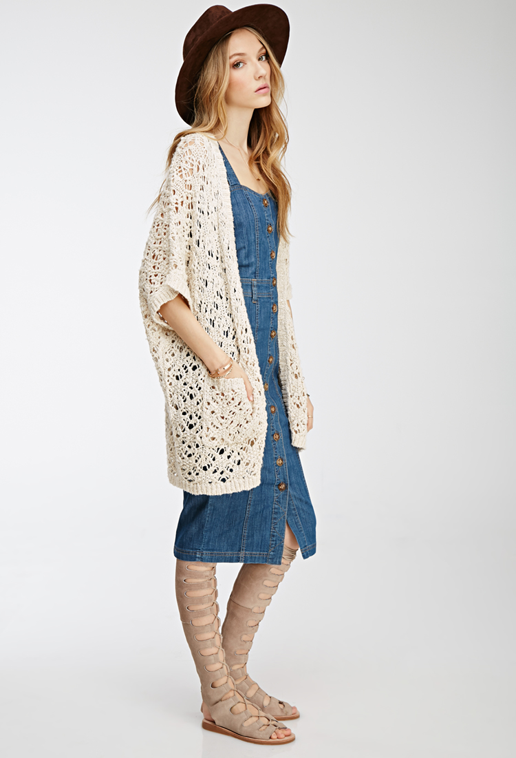 Open Knit Dolman Cardigan - £22 Forever 21, I tried to find the dress but it is no longer on the website? Not sure why.
