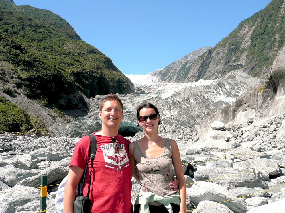 Me and my wife at a glacier in New Zealand