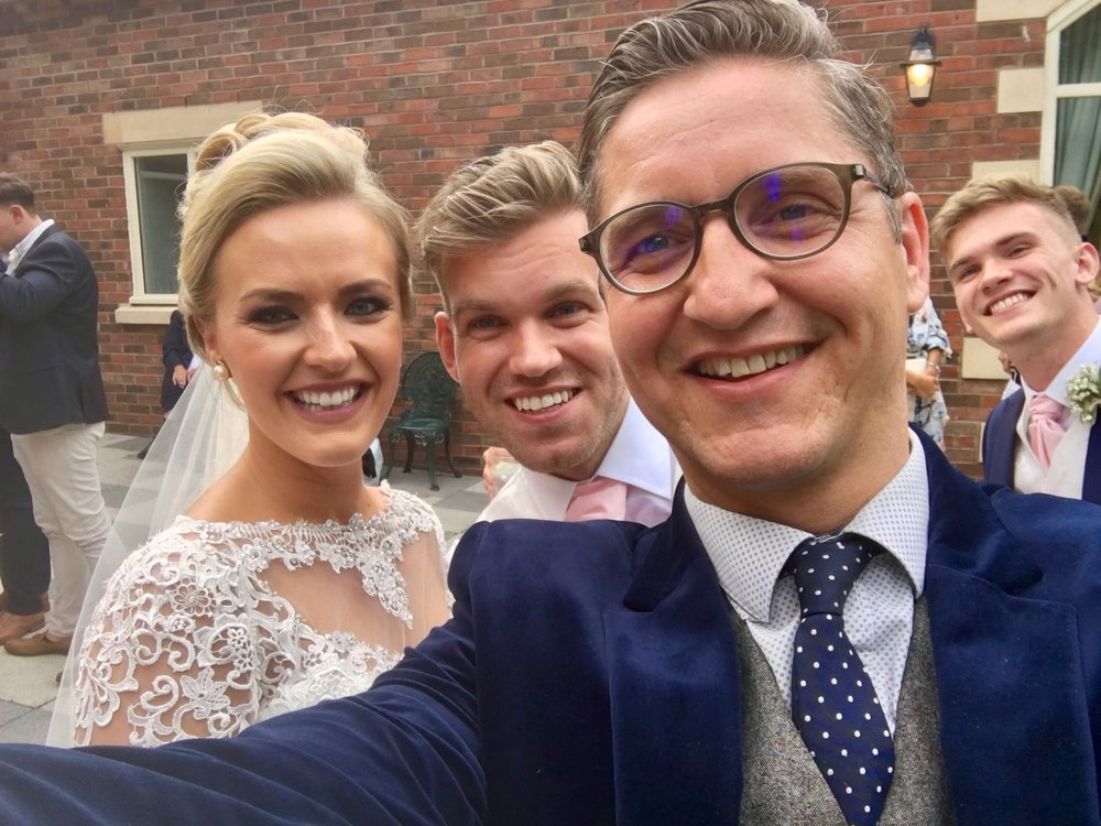 Selfie with a delighted Bride & Groom at their Wedding at The Villa, Wrea Green in Lancashire