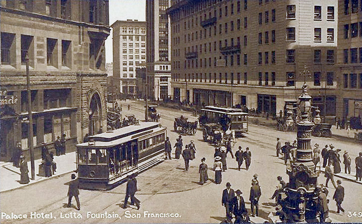 Copy of Cable Car Turn-around on Kearny with Lotta's Fountain 1910