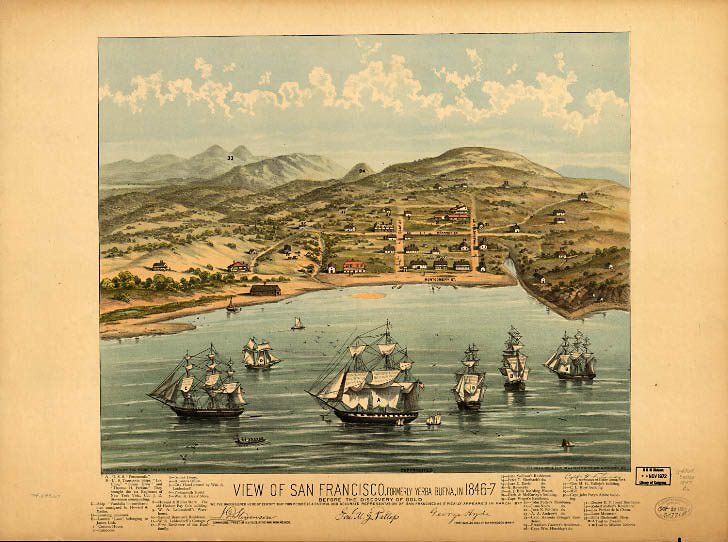 Yerba Buena Cove as it would have looked in 1846