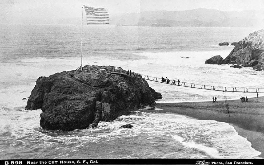 flag or fishermans rock at Naiad Cove 1885.jpg
