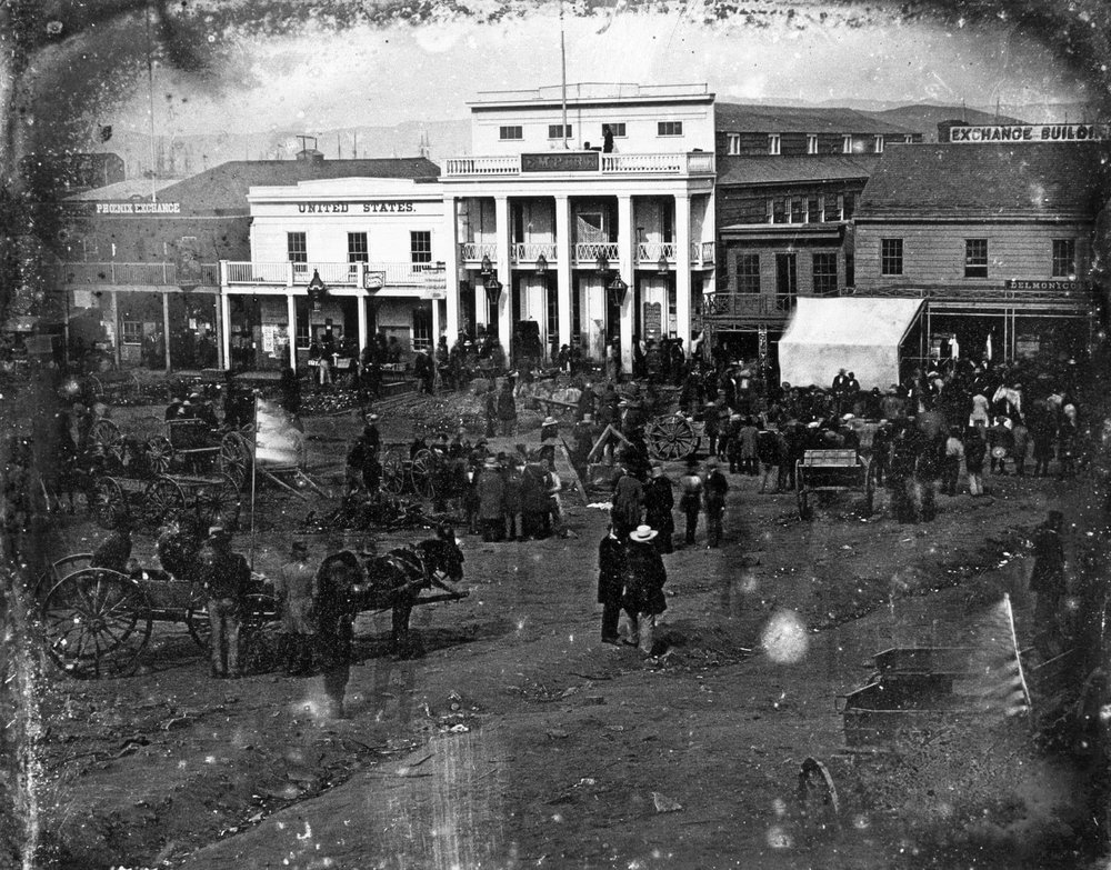 Portsmouth Square 1850. Possibly Sutter in white hat.