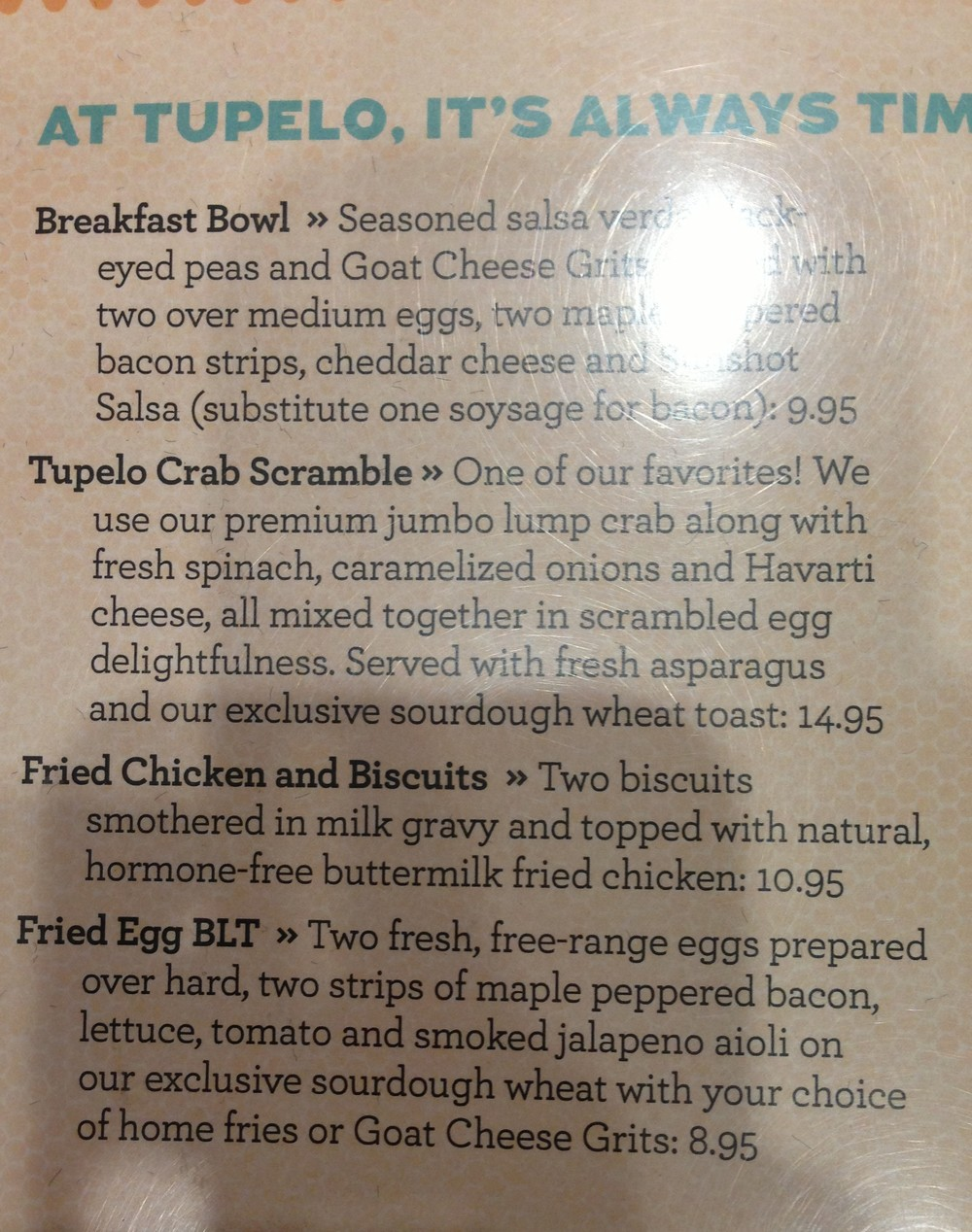 Tupelo Honey Menu