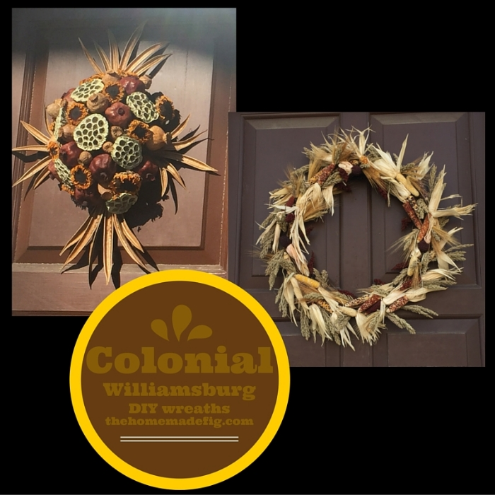 These two wreaths both are made of completely dried out materials - corn on the right, and okra pods, pomegranates, & sunflowers on the left.  Just as beautiful as the greenery wreaths but you don't have to worry about them drying out in the sun or dying before Christmas.