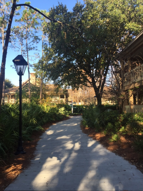 Just a breezy, quiet morning stroll to breakfast at Port Orleans - Riverside (Alligator Bayou rooms pictured here)