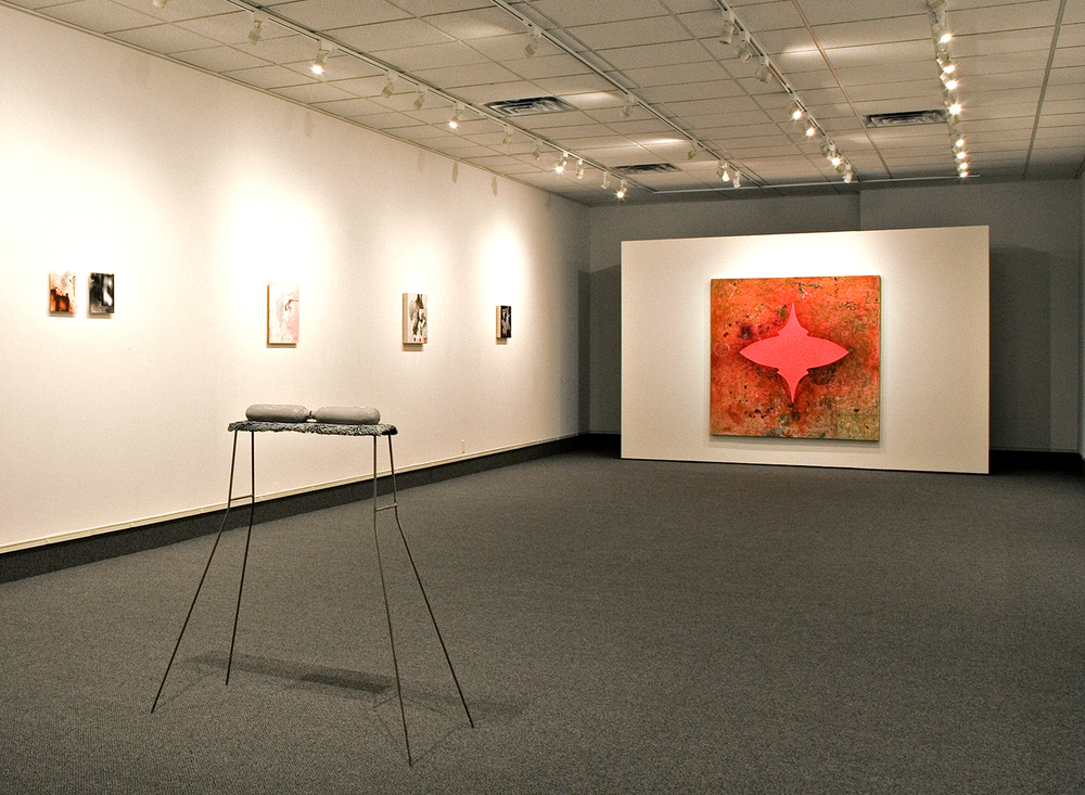 Visible/Invisible  (installation in gallery of Robert Hoerlein paintings), Sinclair Galleries at Coe College, Cedar Rapids, Iowa, Feb 2006.