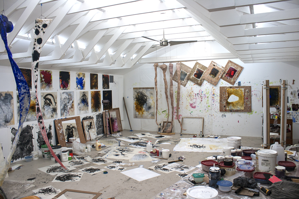 Robert Hoerlein studio , various paintings and unfinished paintings, May 4, 2013.