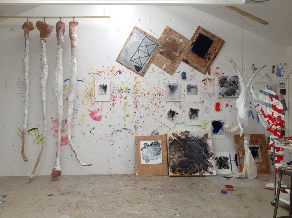 Robert Hoerlein studio  (various paintings in process), Feb 28, 2014.