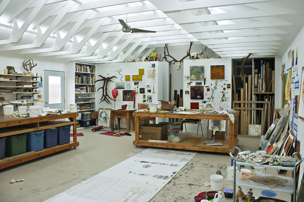 Robert Hoerlein studio , west wall, January 31, 2012.