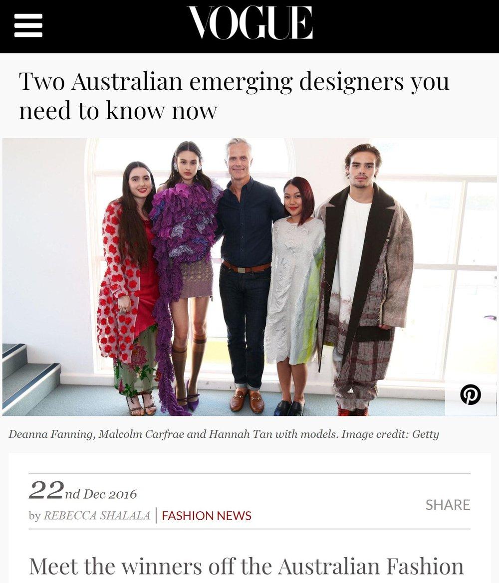 VOGUE AUSTRALIA  | 12.22.2016 |  READ HERE