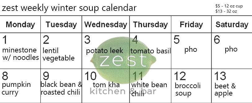 zest soup calendar