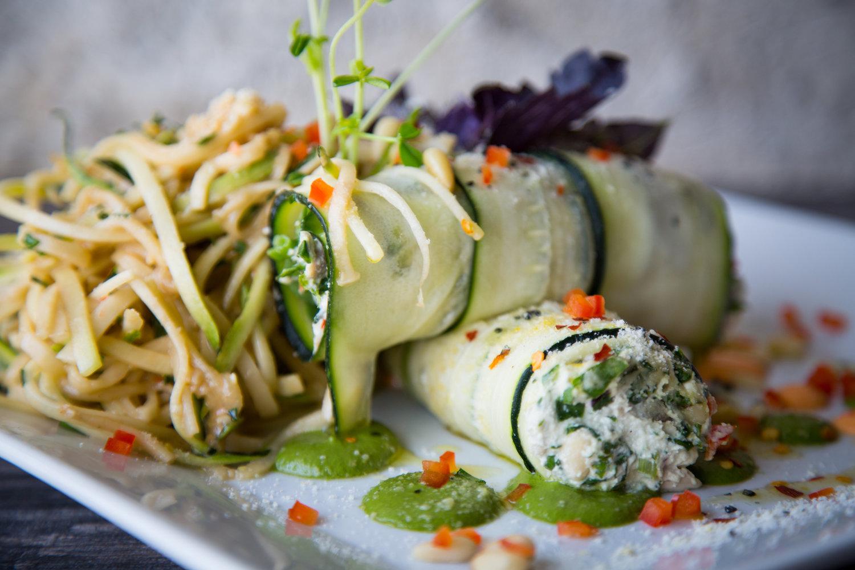 baked zuc & manicotta: salad