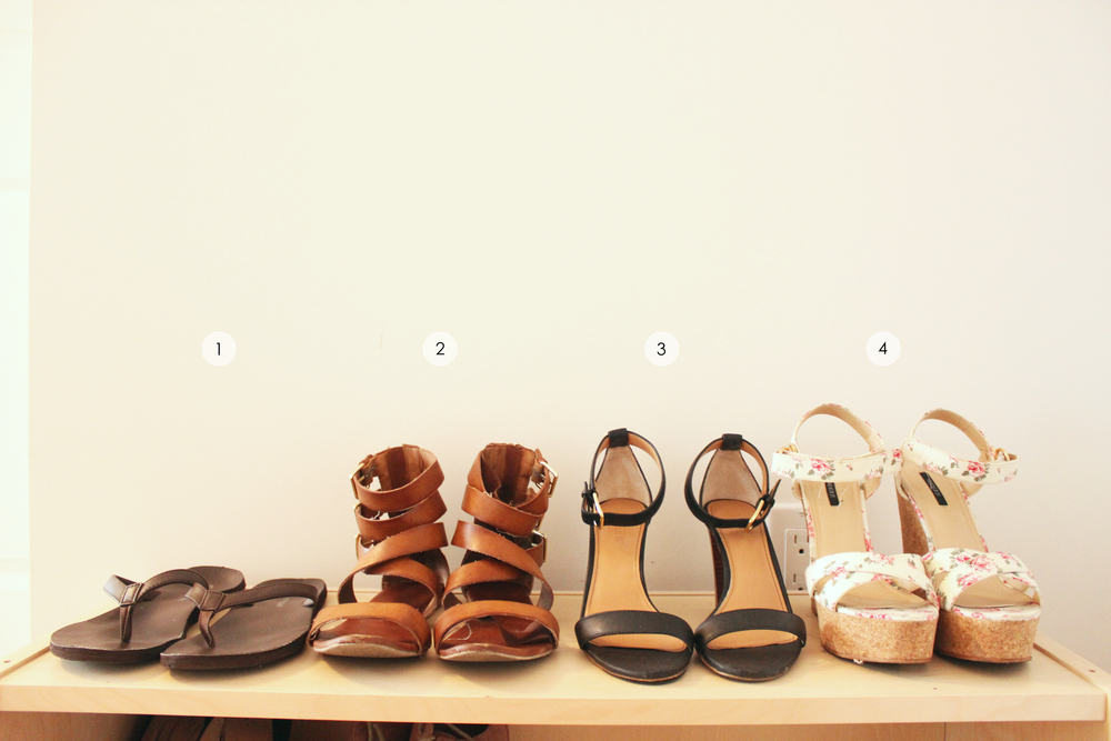 Shoe essentials: 1. Flip flops 2. Everyday sandals 3. Multi-purpose black heels 4. Summer wedges